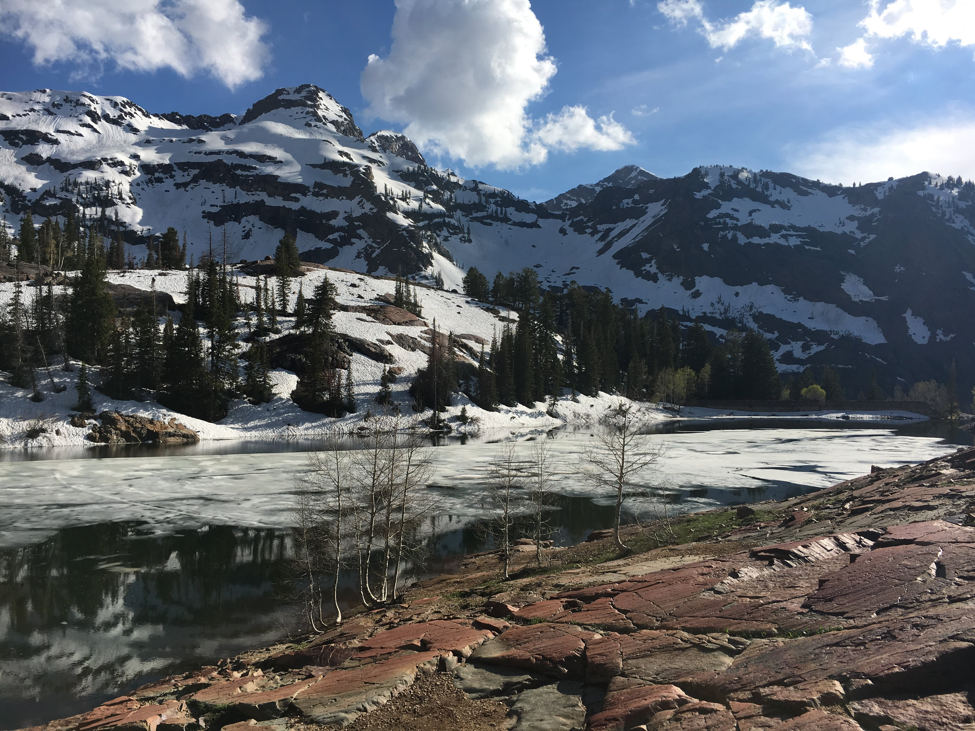 Lake Blanche — the very first hike I did while in SLC. A totally beautiful alpine lake, still partially frozen over and a lot of snow on the trail on the way up.